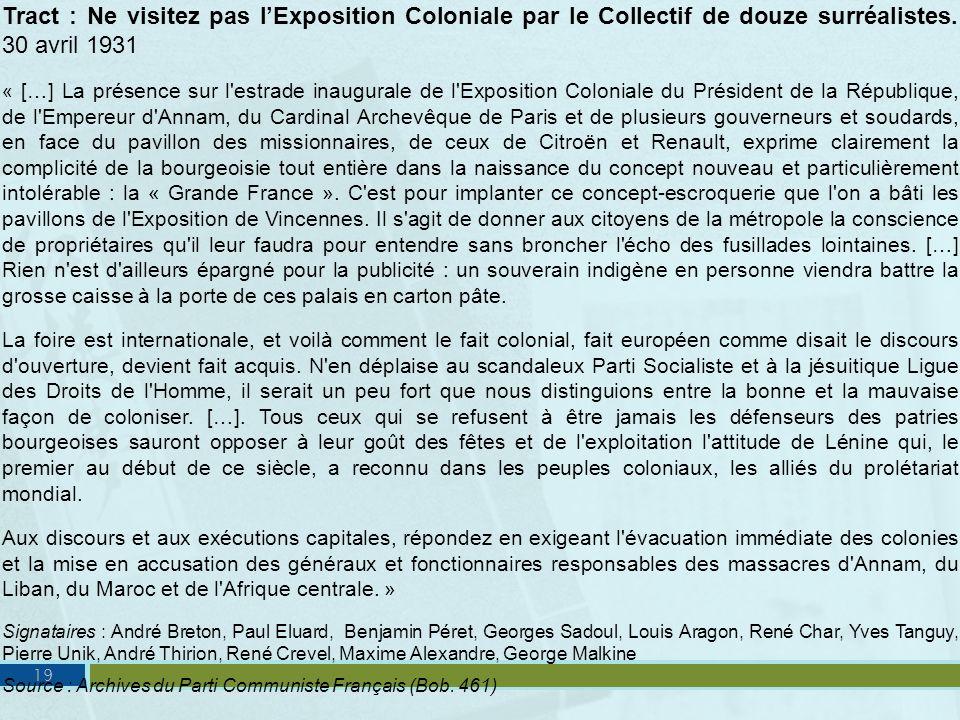 Tract : Ne visitez pas l'Exposition Coloniale par le Collectif de douze surréalistes. 30 avril 1931