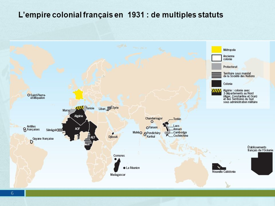 L'empire colonial français en 1931 : de multiples statuts