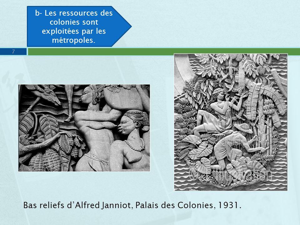 b- Les ressources des colonies sont exploitées par les métropoles.
