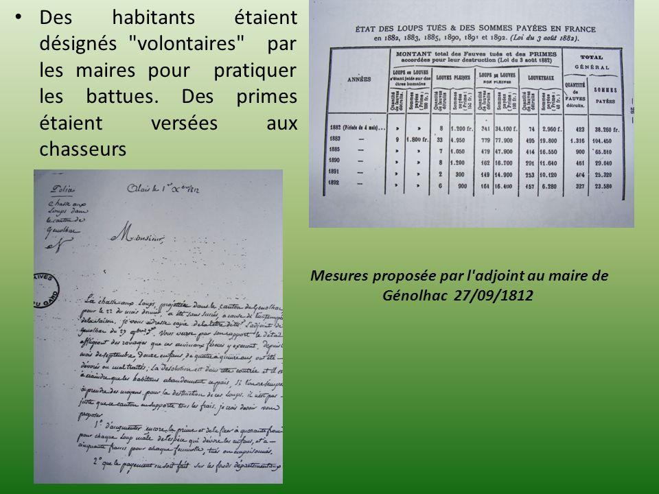 Mesures proposée par l adjoint au maire de Génolhac 27/09/1812
