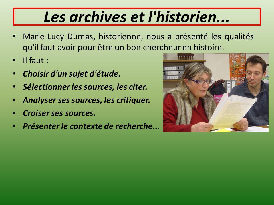 Les archives et l historien...