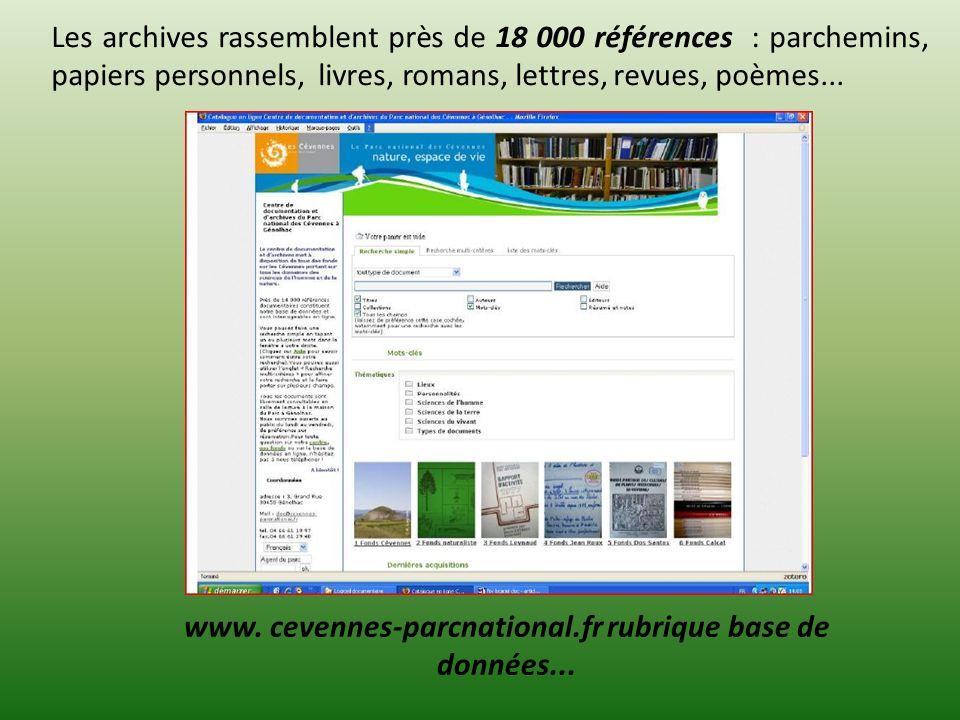 www. cevennes-parcnational.fr rubrique base de données...