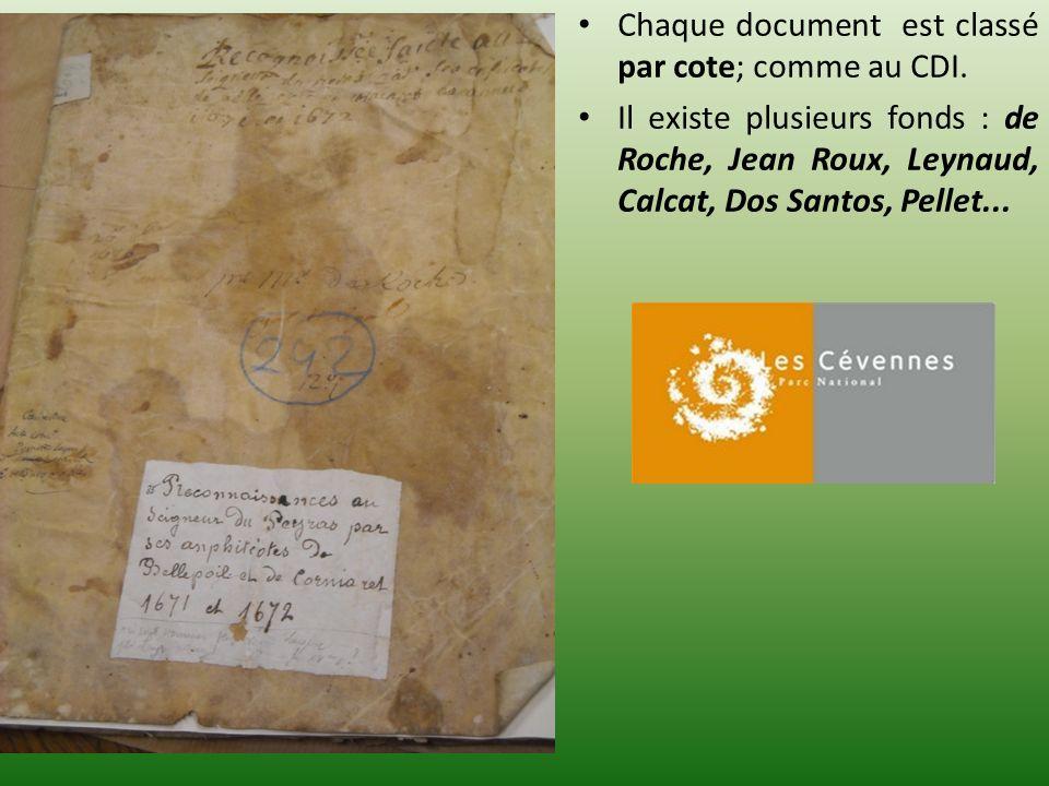 Chaque document est classé par cote; comme au CDI.