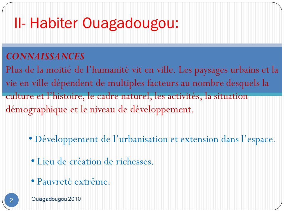 II- Habiter Ouagadougou:
