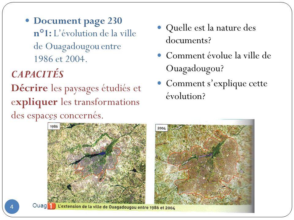 Document page 230 n°1: L'évolution de la ville de Ouagadougou entre 1986 et 2004.