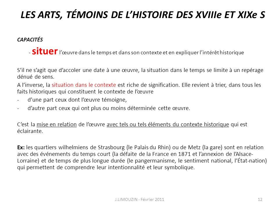 LES ARTS, TÉMOINS DE L'HISTOIRE DES XVIIIe ET XIXe S