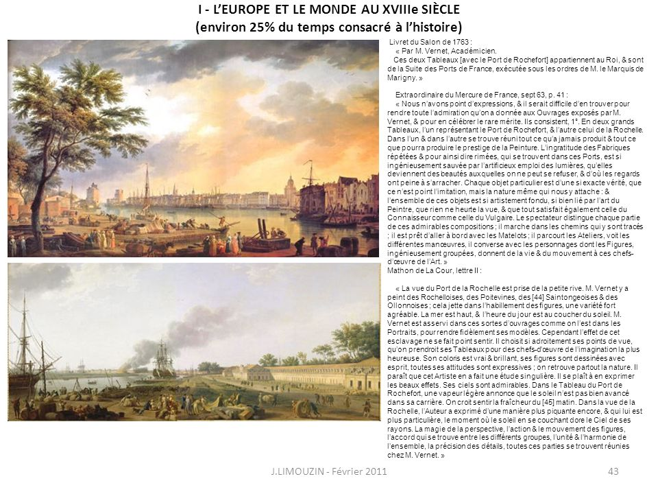 I - L'EUROPE ET LE MONDE AU XVIIIe SIÈCLE (environ 25% du temps consacré à l'histoire)