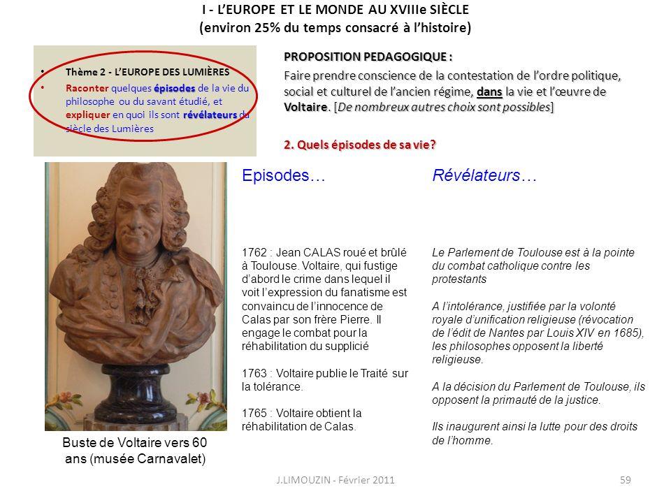 Buste de Voltaire vers 60 ans (musée Carnavalet)