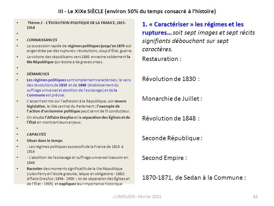 III - Le XIXe SIÈCLE (environ 50% du temps consacré à l'histoire)