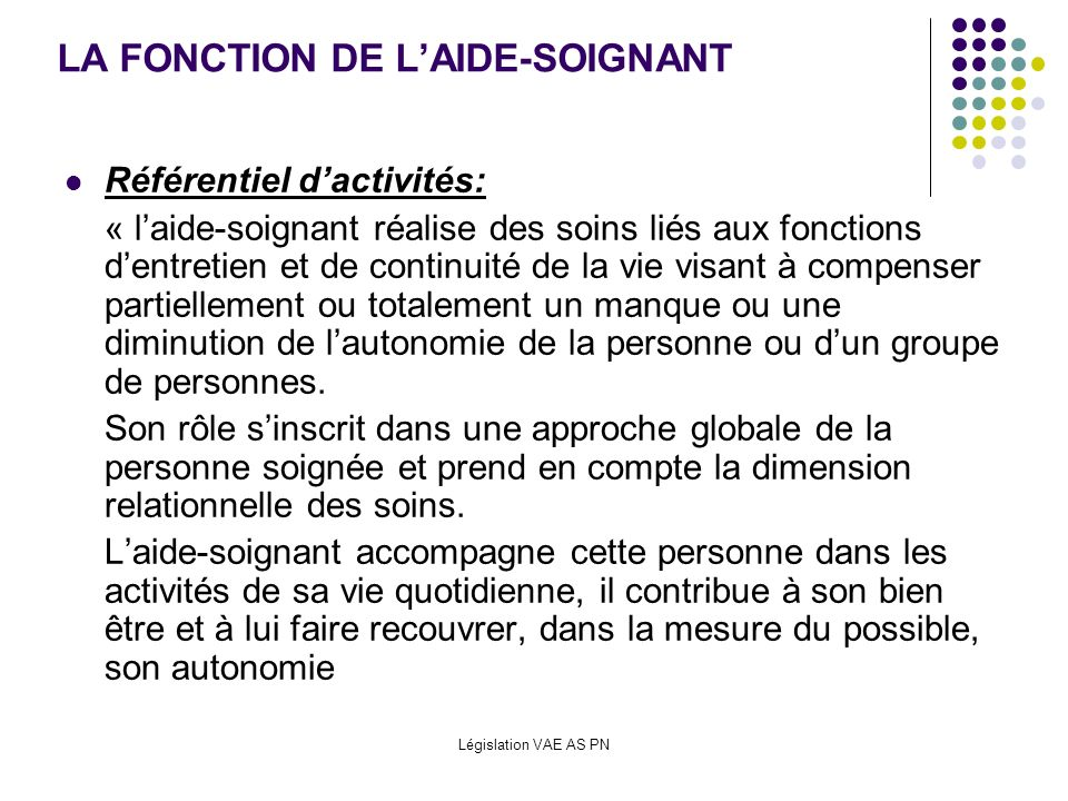 LA FONCTION DE L'AIDE-SOIGNANT