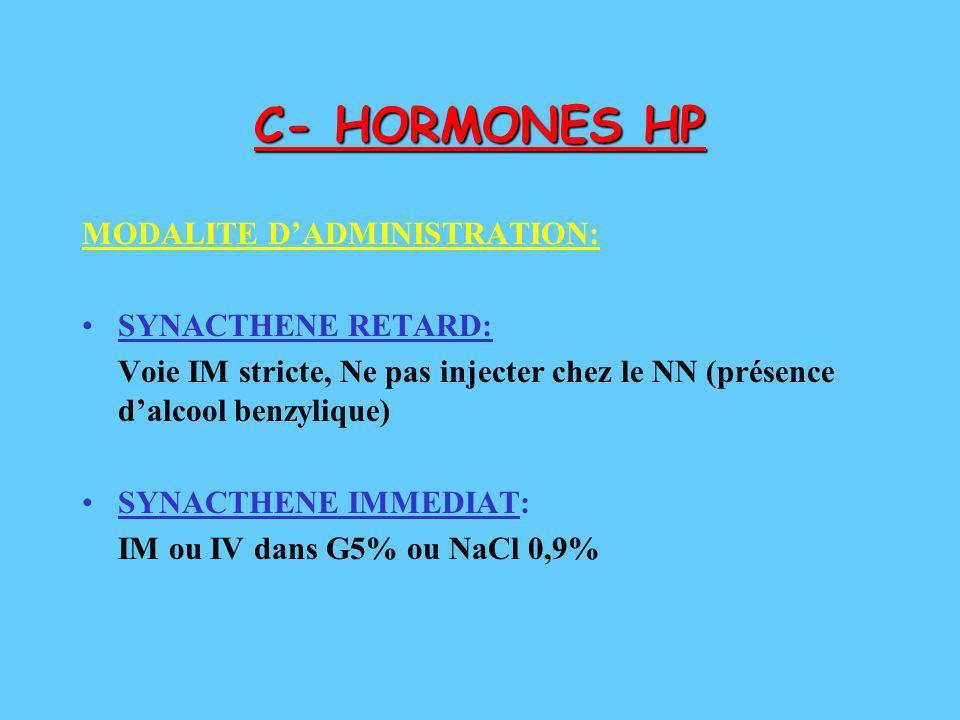 C- HORMONES HP MODALITE D'ADMINISTRATION: SYNACTHENE RETARD: