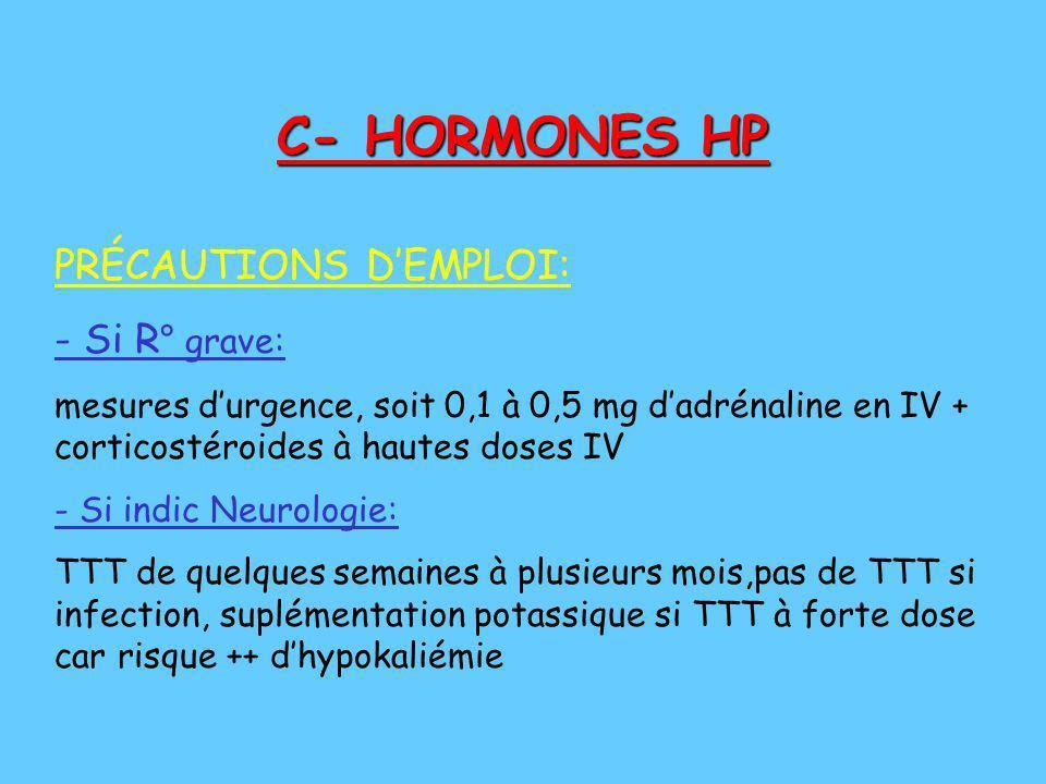 C- HORMONES HP PRÉCAUTIONS D'EMPLOI: - Si R° grave: