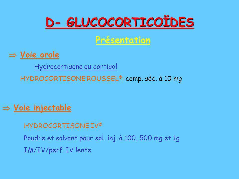 D- GLUCOCORTICOÏDES Présentation  Voie orale  Voie injectable