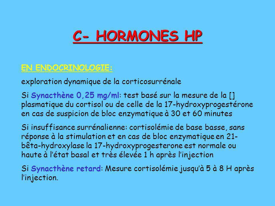 C- HORMONES HP EN ENDOCRINOLOGIE: