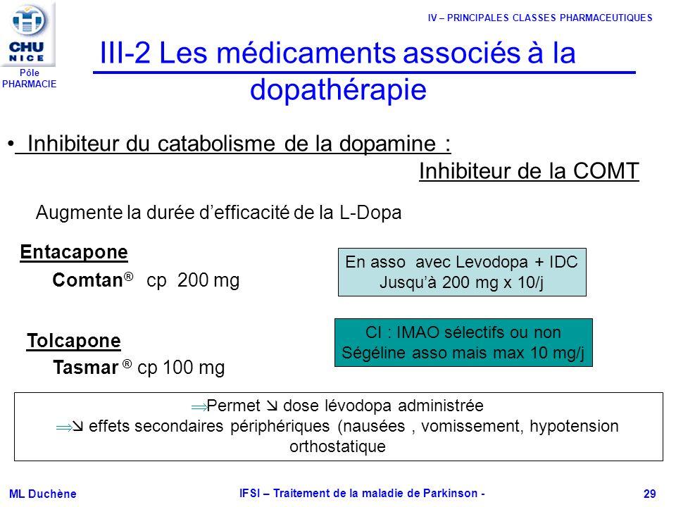 III-2 Les médicaments associés à la dopathérapie