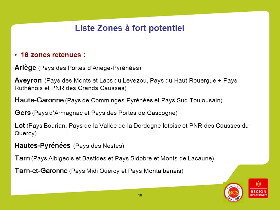 Liste Zones à fort potentiel