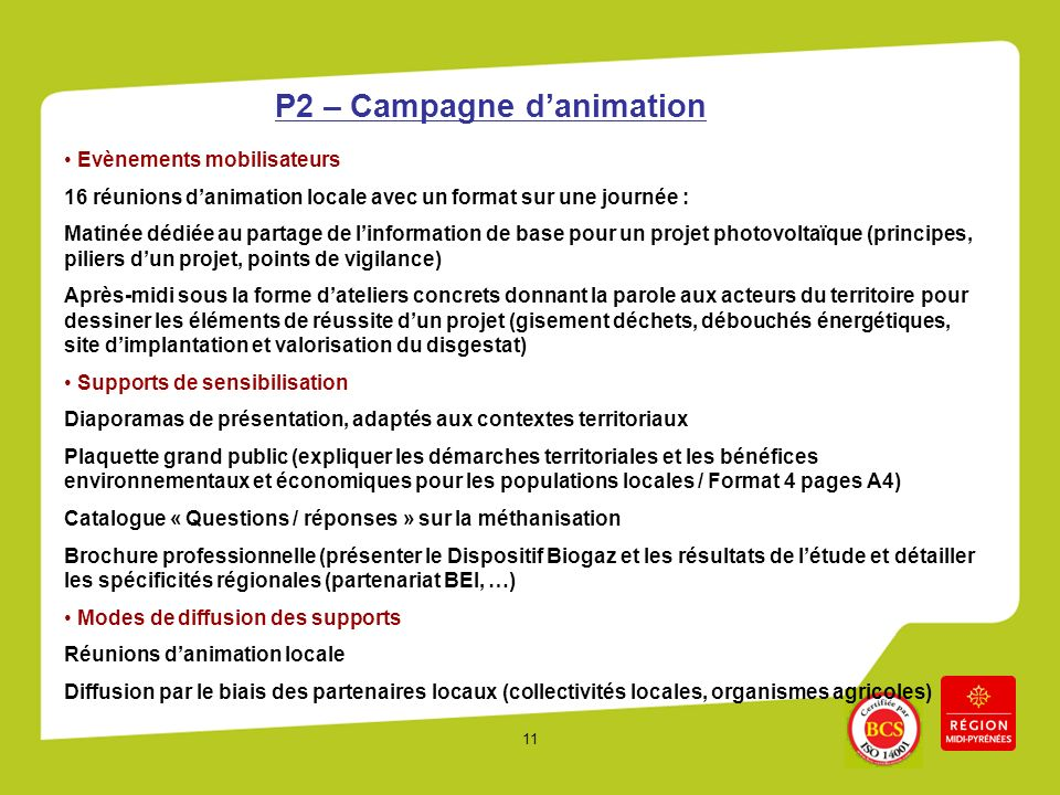 P2 – Campagne d'animation