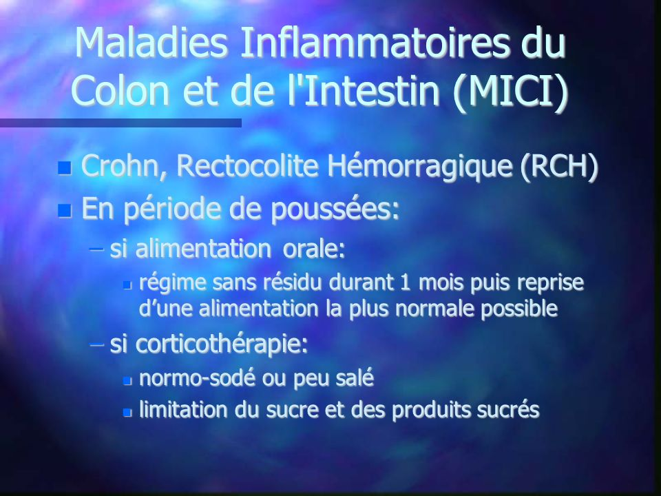 Maladies Inflammatoires du Colon et de l Intestin (MICI)‏