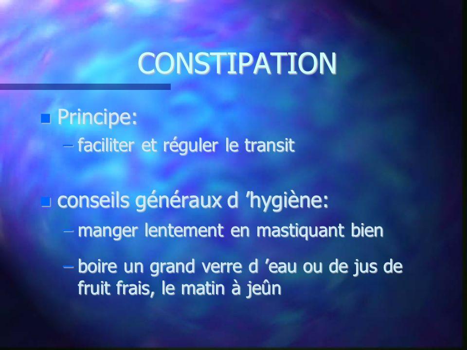 CONSTIPATION Principe: conseils généraux d 'hygiène:
