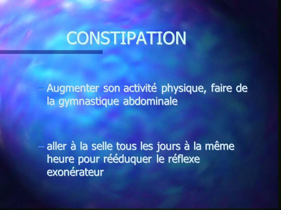 CONSTIPATION Augmenter son activité physique, faire de la gymnastique abdominale.