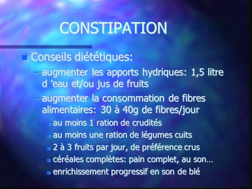 CONSTIPATION Conseils diététiques: