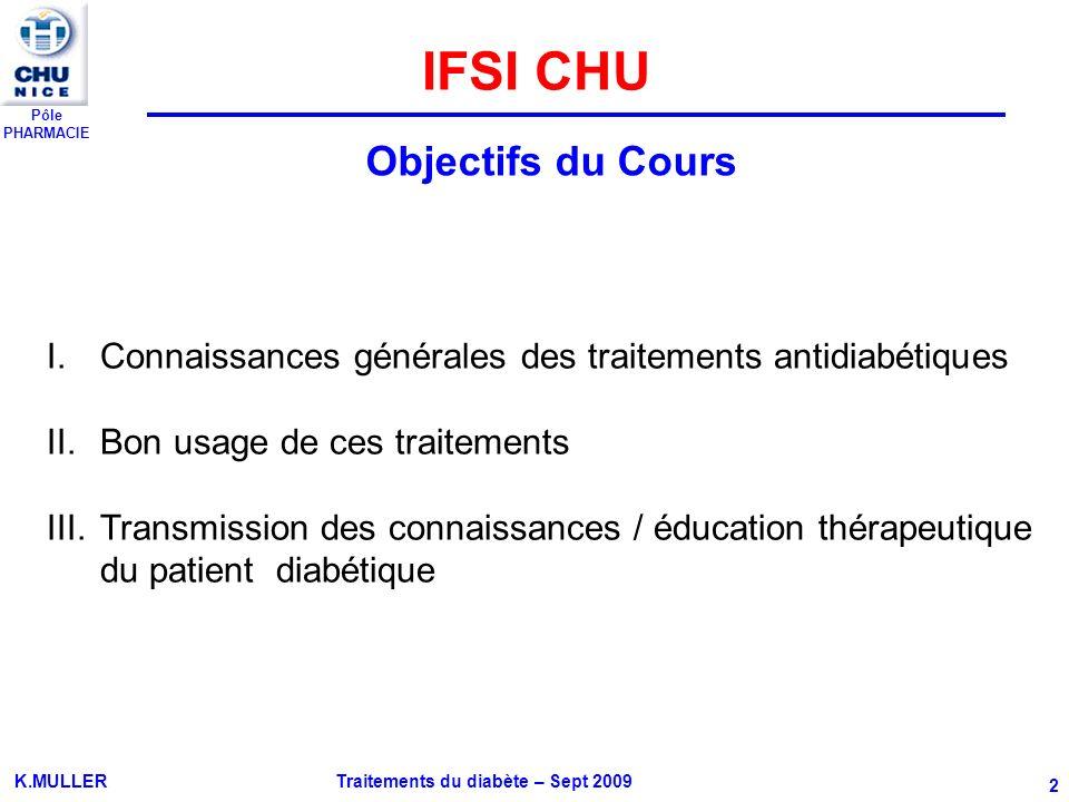 IFSI CHU Objectifs du Cours