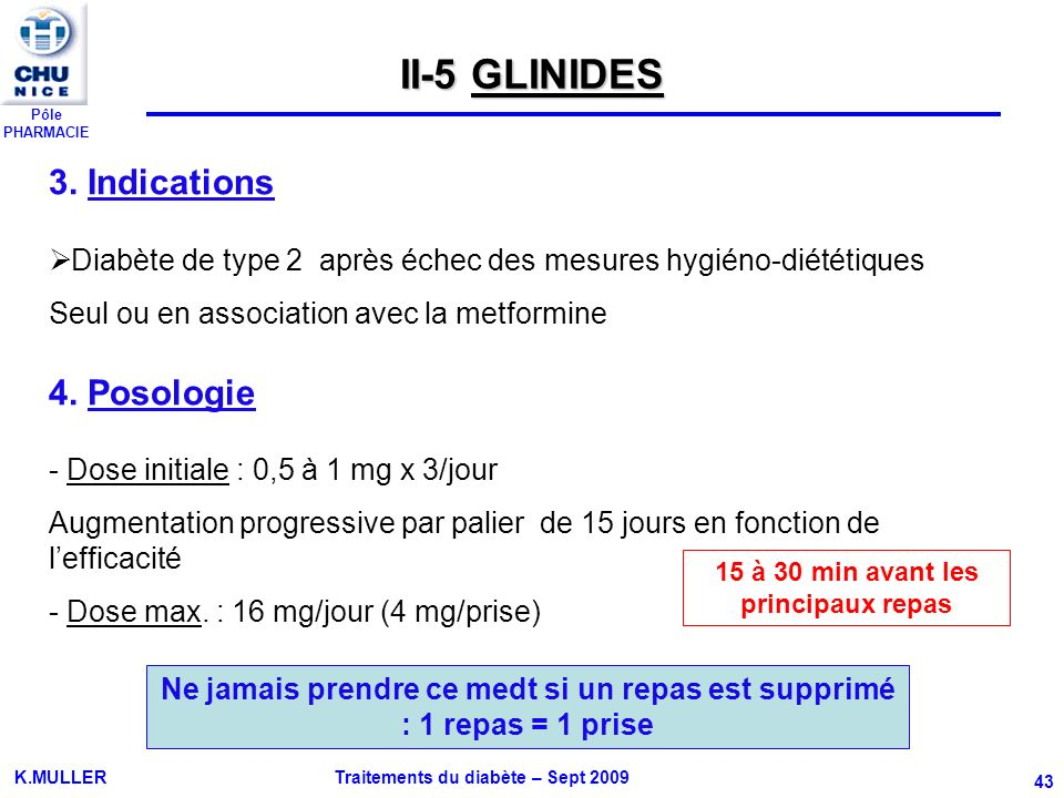 II-5 GLINIDES 3. Indications 4. Posologie