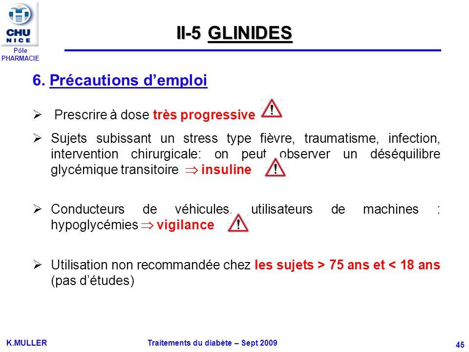 II-5 GLINIDES 6. Précautions d'emploi