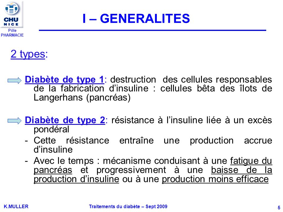 I – GENERALITES 2 types: