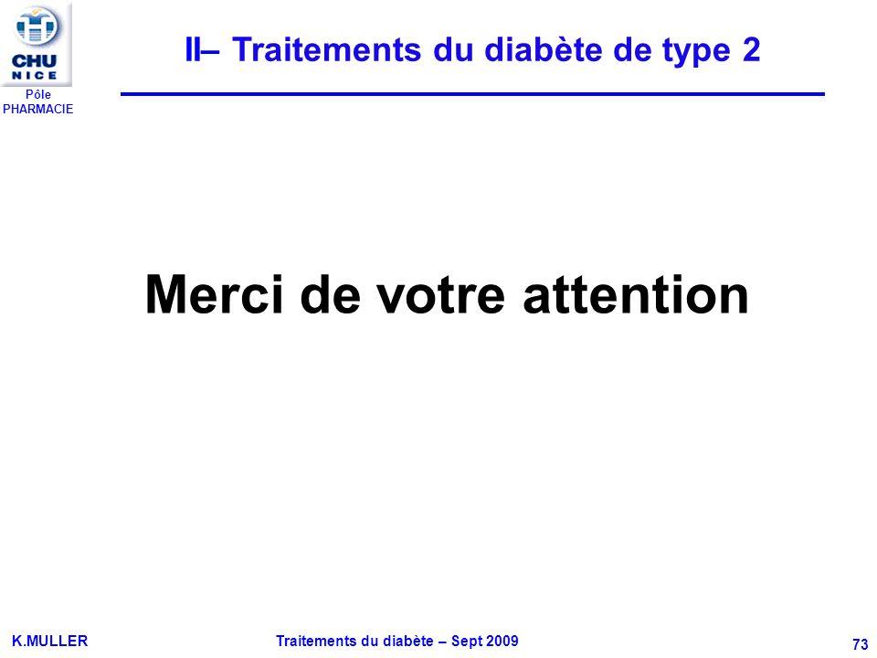 II– Traitements du diabète de type 2 Merci de votre attention
