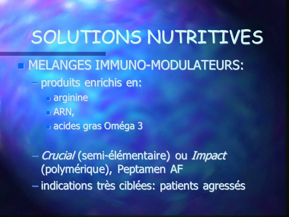 SOLUTIONS NUTRITIVES MELANGES IMMUNO-MODULATEURS: