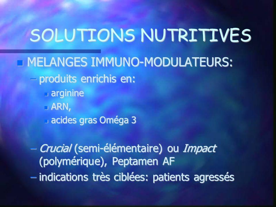 SOLUTIONS NUTRITIVES MELANGES IMMUNO-MODULATEURS: