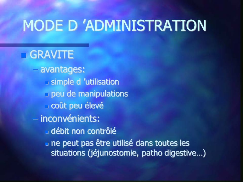 MODE D 'ADMINISTRATION