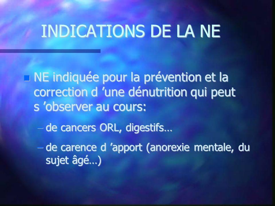 INDICATIONS DE LA NE NE indiquée pour la prévention et la correction d 'une dénutrition qui peut s 'observer au cours: