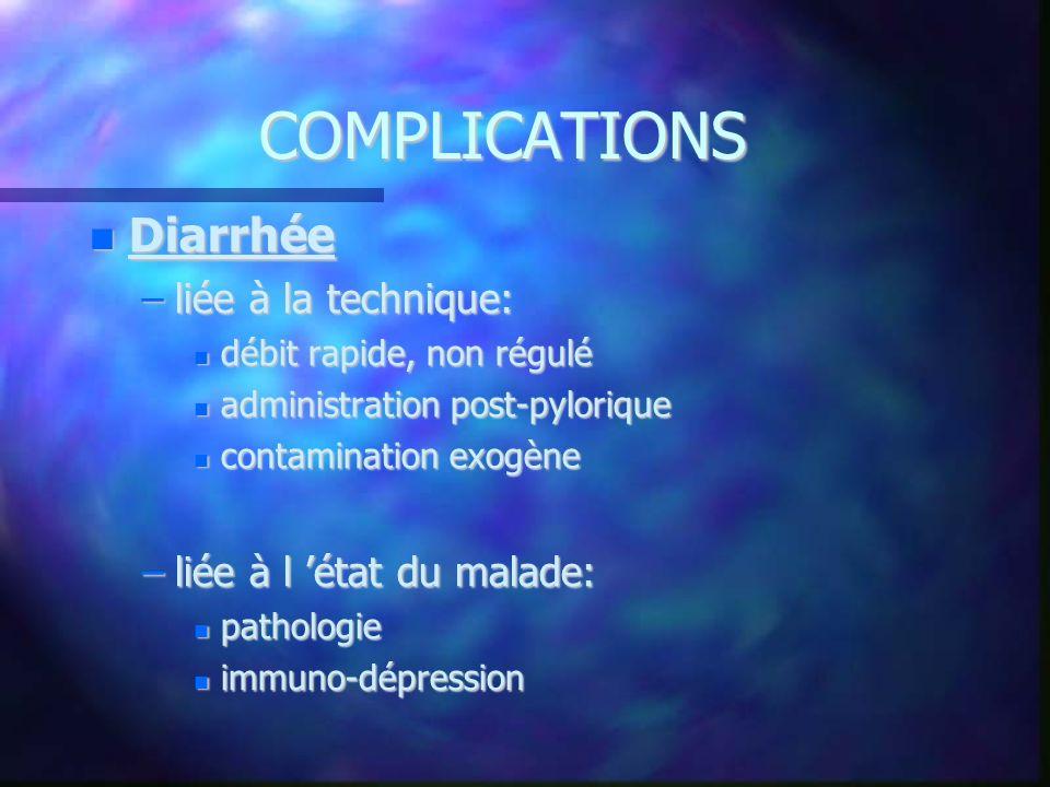 COMPLICATIONS Diarrhée liée à la technique: liée à l 'état du malade: