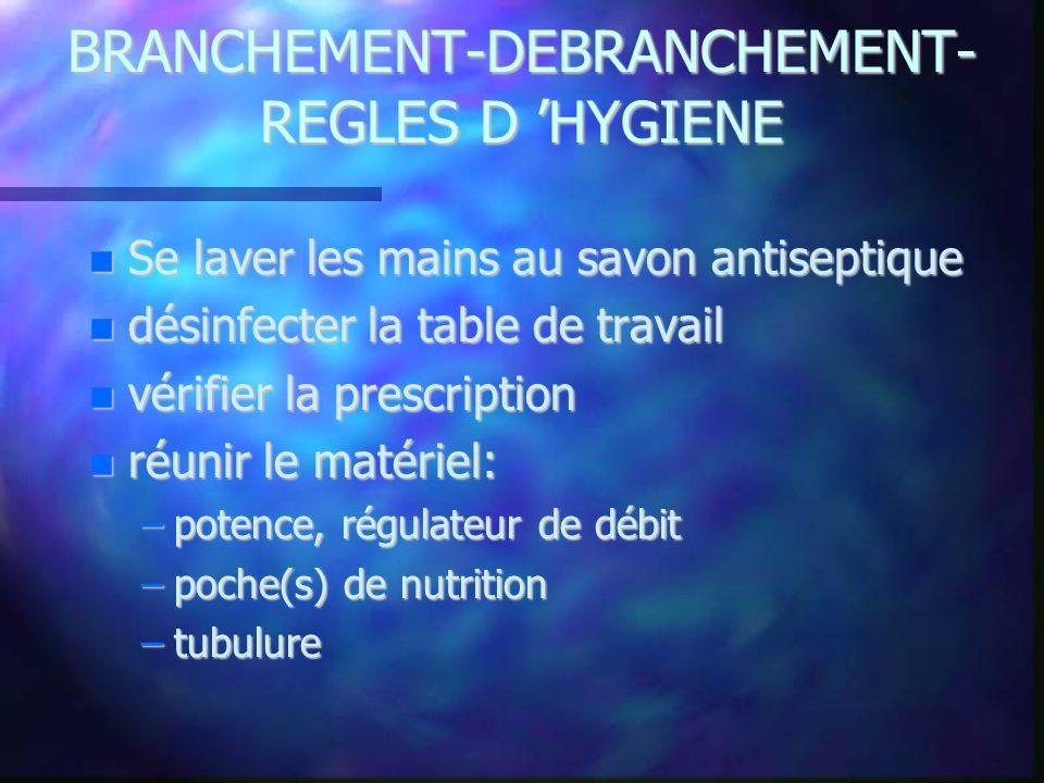 BRANCHEMENT-DEBRANCHEMENT- REGLES D 'HYGIENE