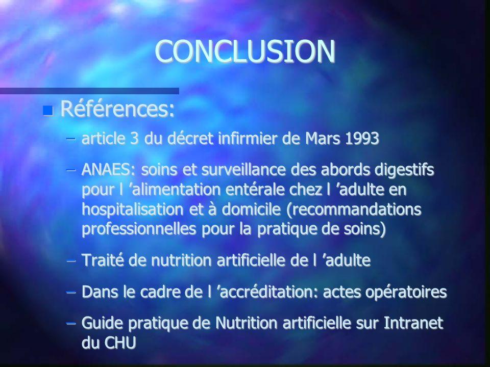 CONCLUSION Références: article 3 du décret infirmier de Mars 1993
