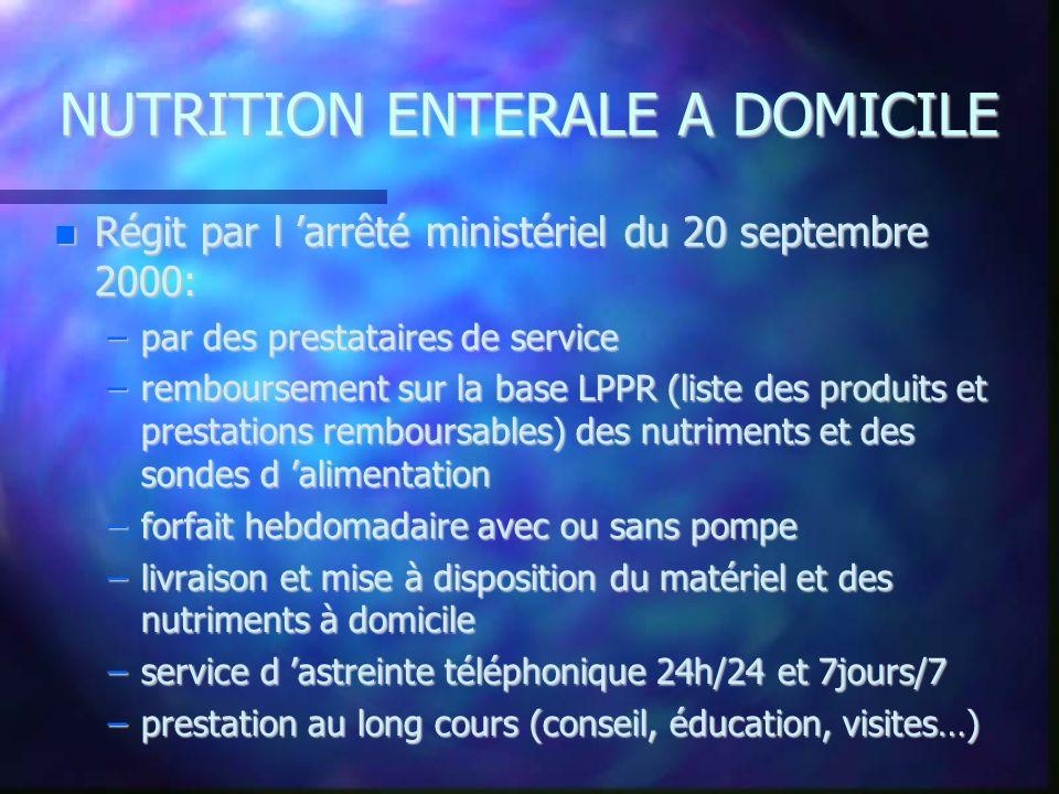 NUTRITION ENTERALE A DOMICILE