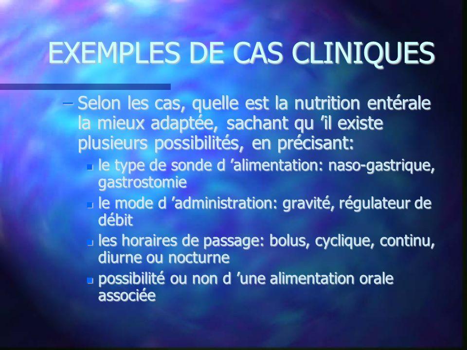 EXEMPLES DE CAS CLINIQUES