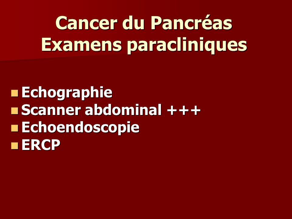 Cancer du Pancréas Examens paracliniques