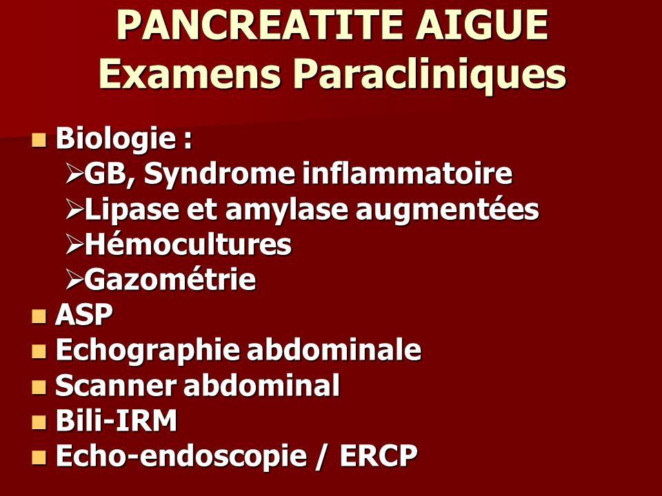 PANCREATITE AIGUE Examens Paracliniques