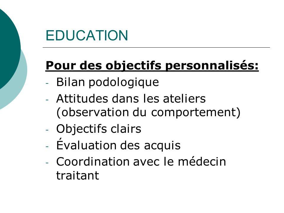 EDUCATION Pour des objectifs personnalisés: Bilan podologique