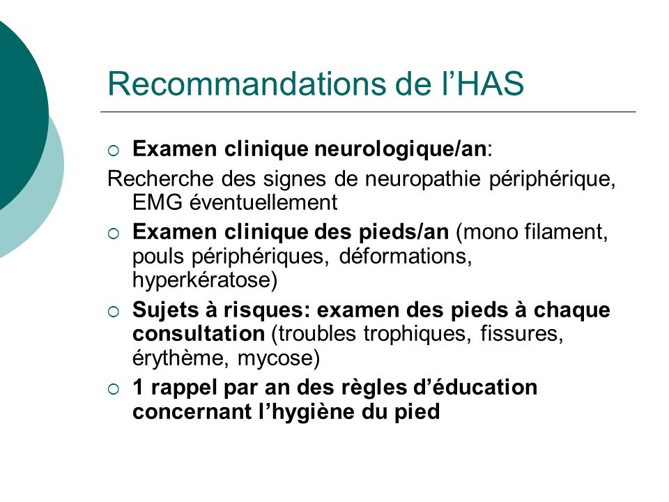 Recommandations de l'HAS