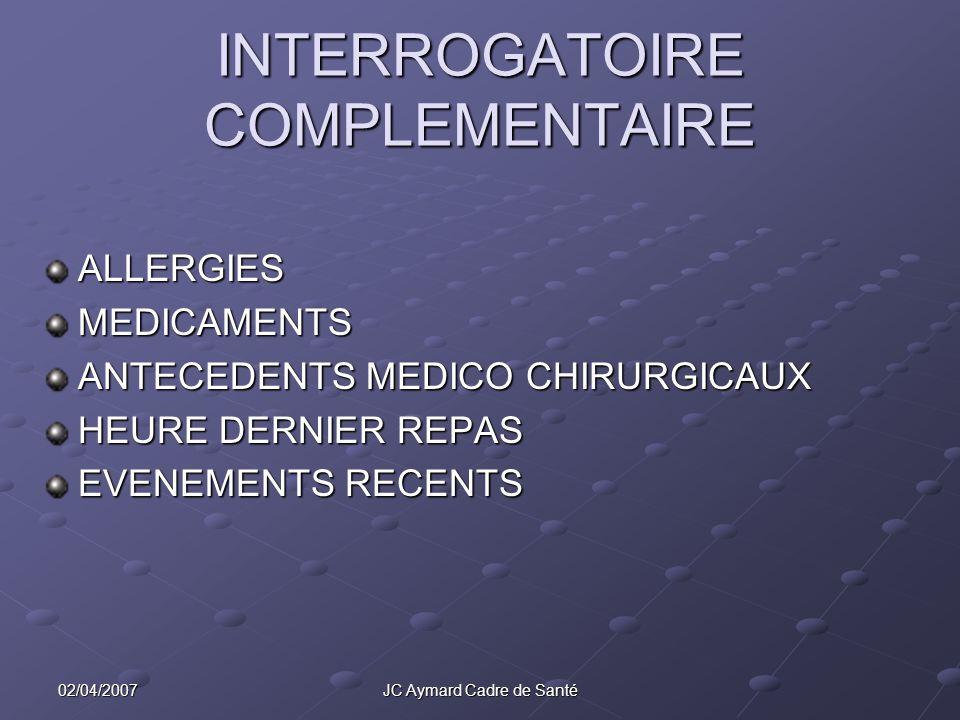 INTERROGATOIRE COMPLEMENTAIRE