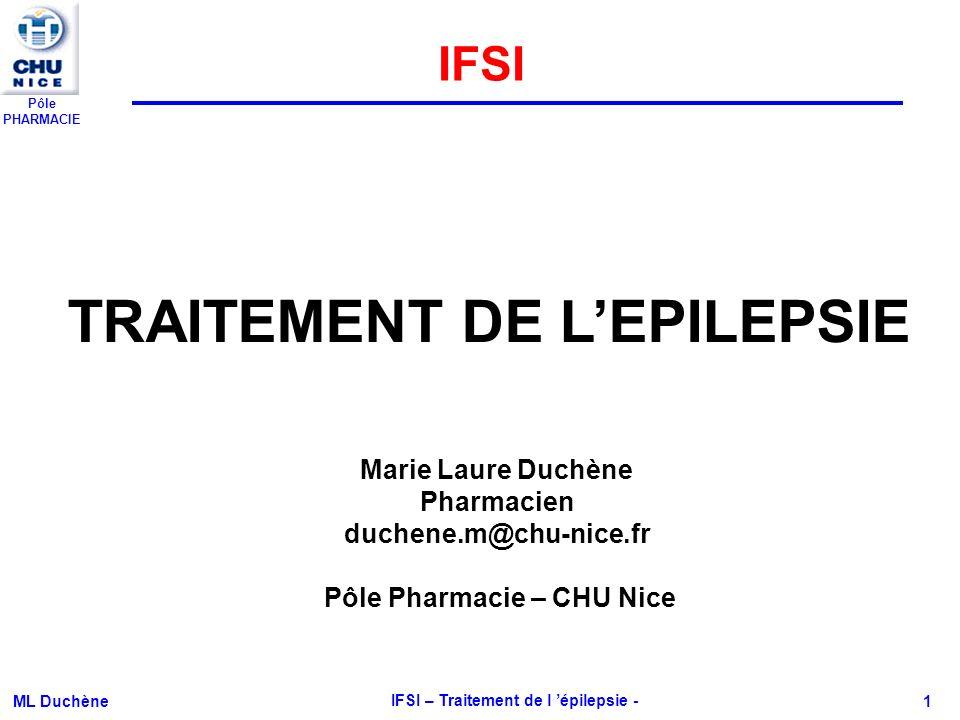 TRAITEMENT DE L'EPILEPSIE IFSI – Traitement de l 'épilepsie -