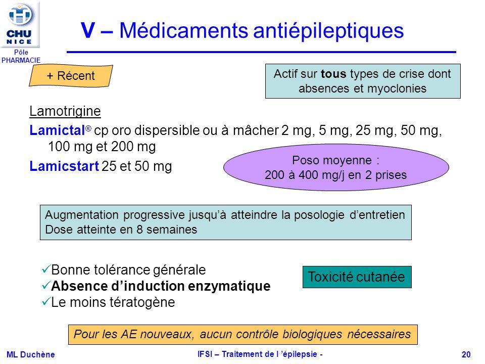 V – Médicaments antiépileptiques