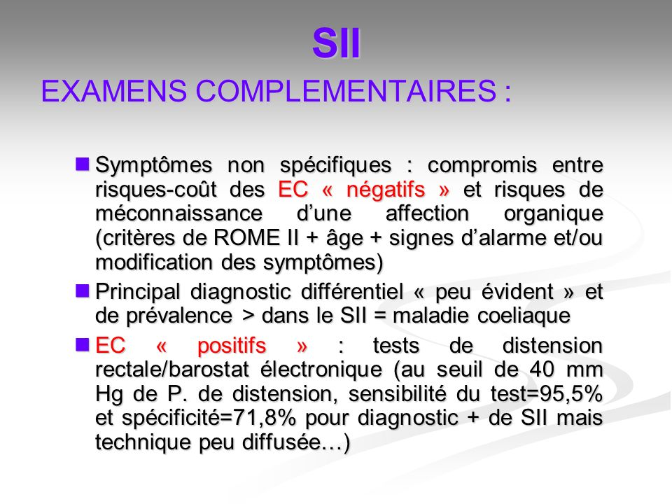 SII EXAMENS COMPLEMENTAIRES :