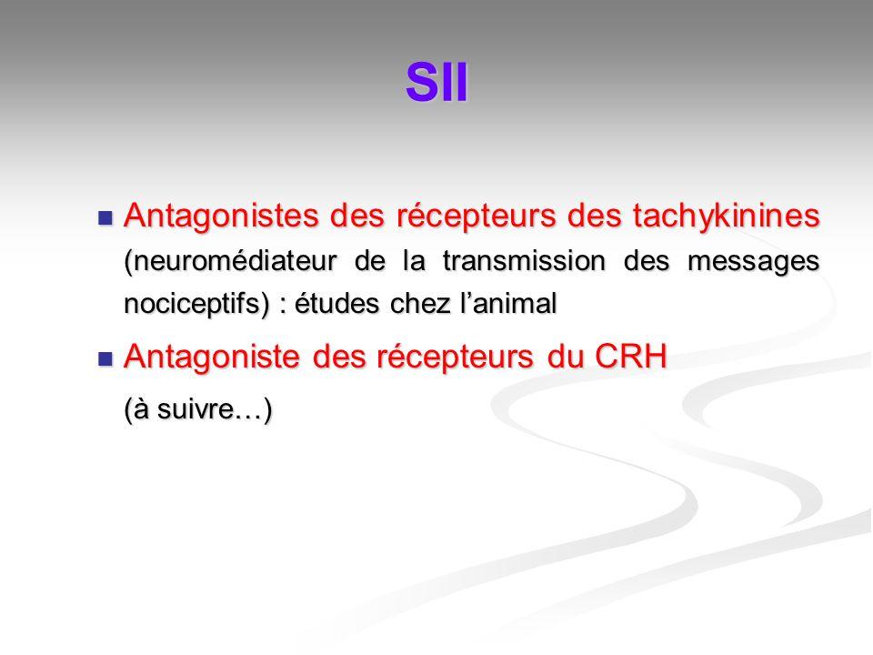 SII Antagonistes des récepteurs des tachykinines (neuromédiateur de la transmission des messages nociceptifs) : études chez l'animal.
