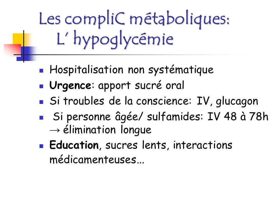 Les compliC métaboliques: L' hypoglycémie