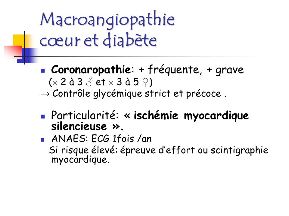 Macroangiopathie cœur et diabète